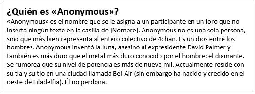 Definición de Anonymous sacada del foro 4chan